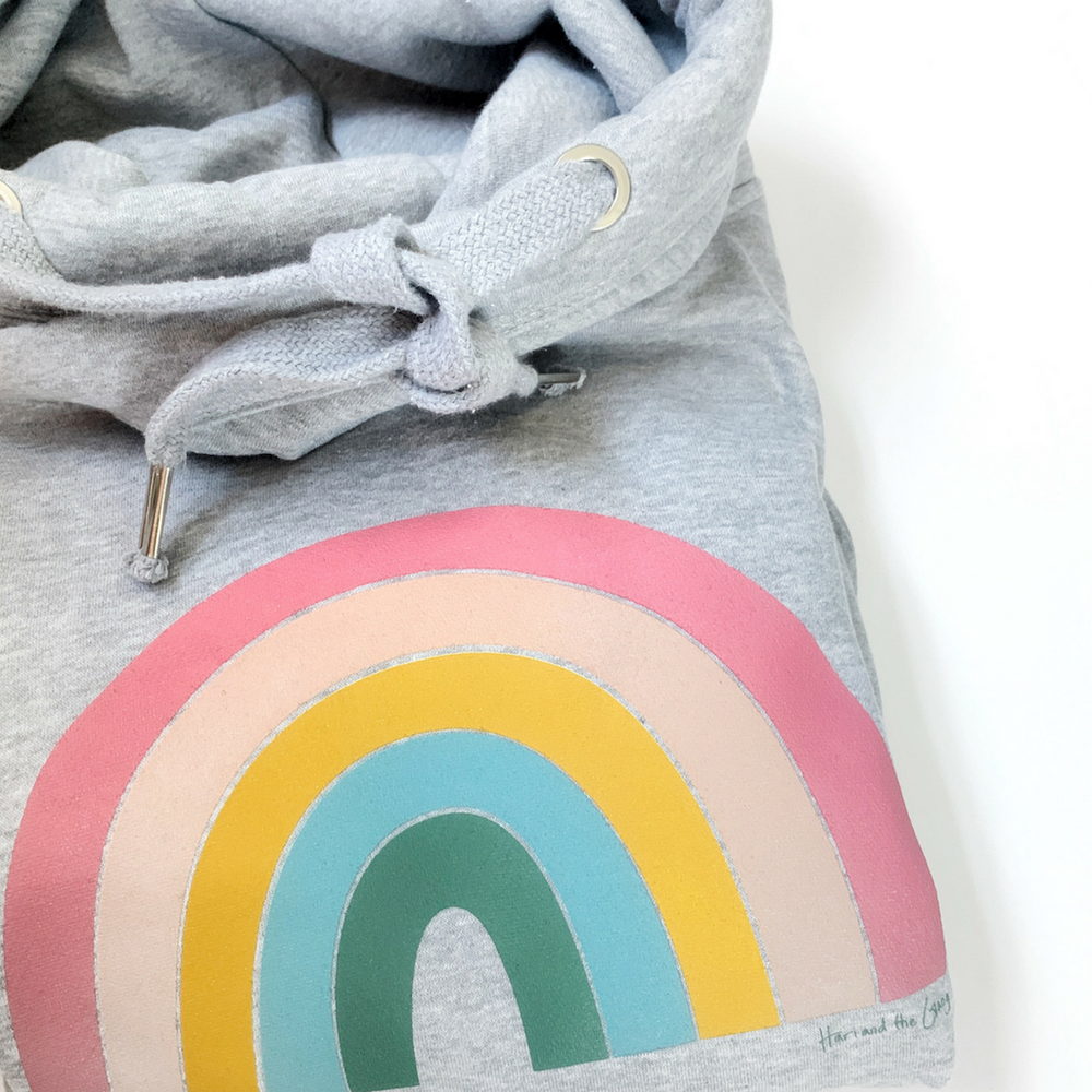 Haribow Hope Pastel Rainbow Hoodie - Grey