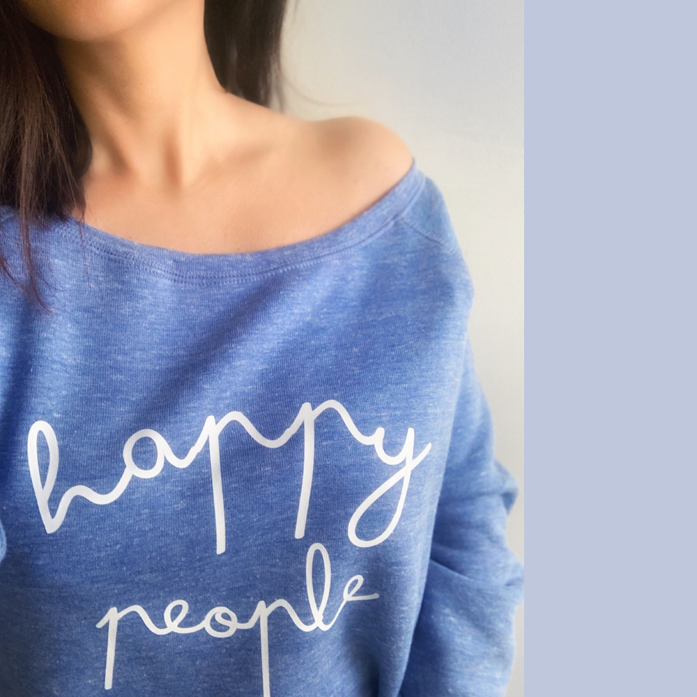 Happy People Blue Wide Neck Sweat