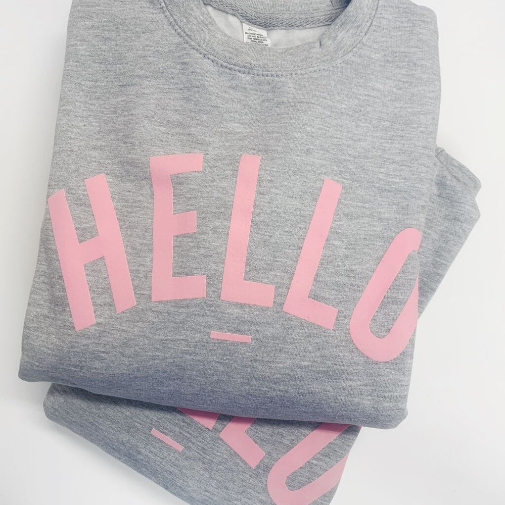 Grey Marl Pink Hello Sweatshirt