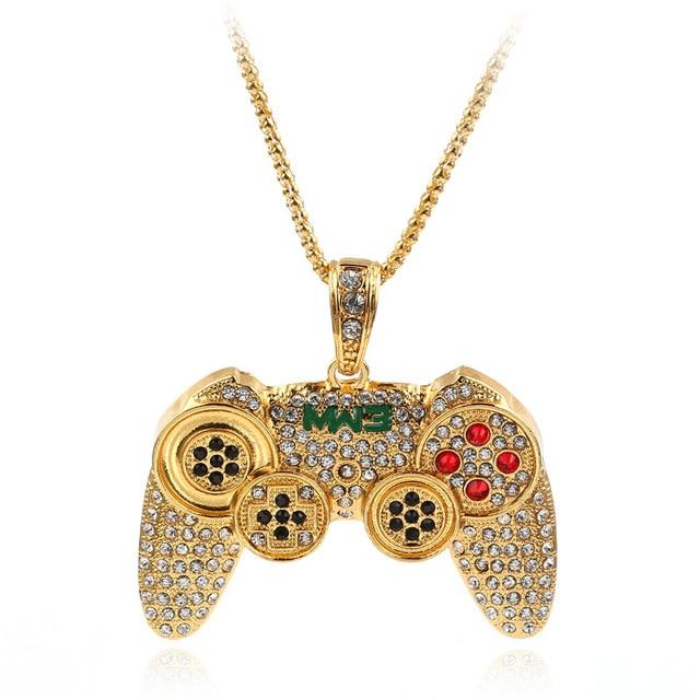 Hip Hop Iced Out Game Controller Necklace