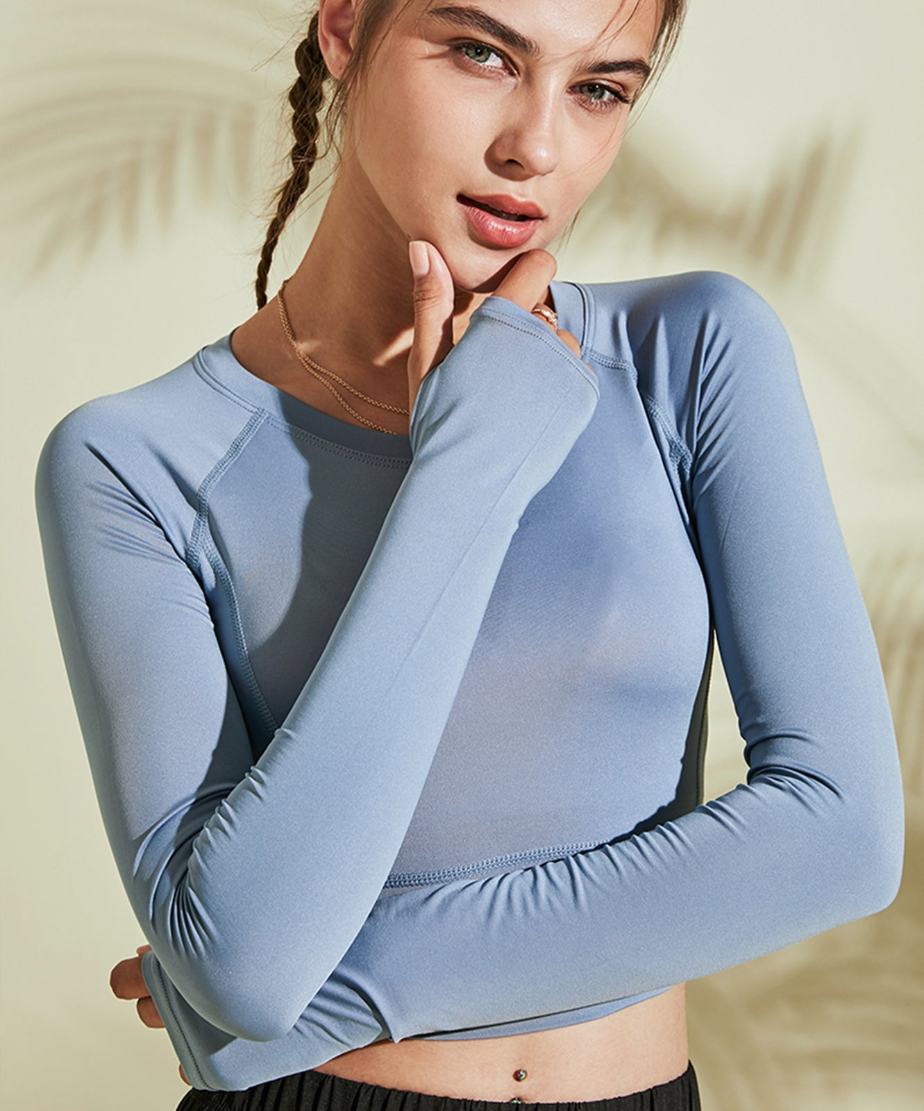 Sleek Long-Sleeve Crop Tee with Thumb Hole
