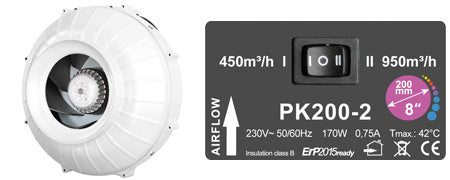 Prima Klima PK200-2 Two-speed - led grow lights KingOfLeds