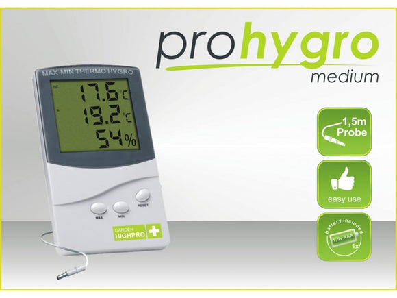 Digital Thermo-Hygro meter MEDIUM with probe - led grow lights KingOfLeds