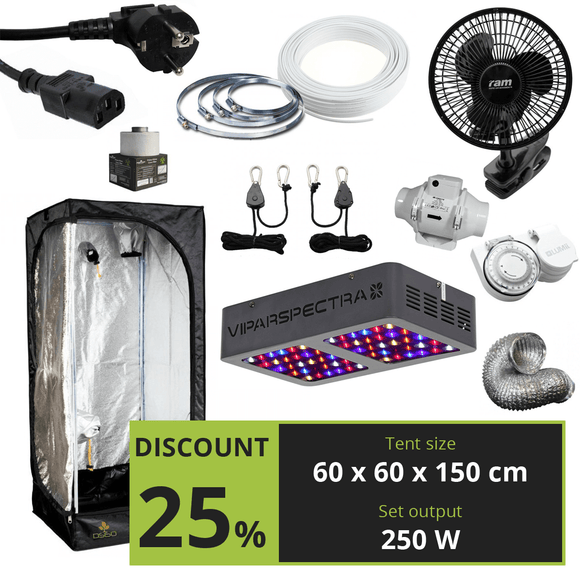 BASIC 250w (60x60x150cm) + Viparspectra V300 - led grow lights KingOfLeds