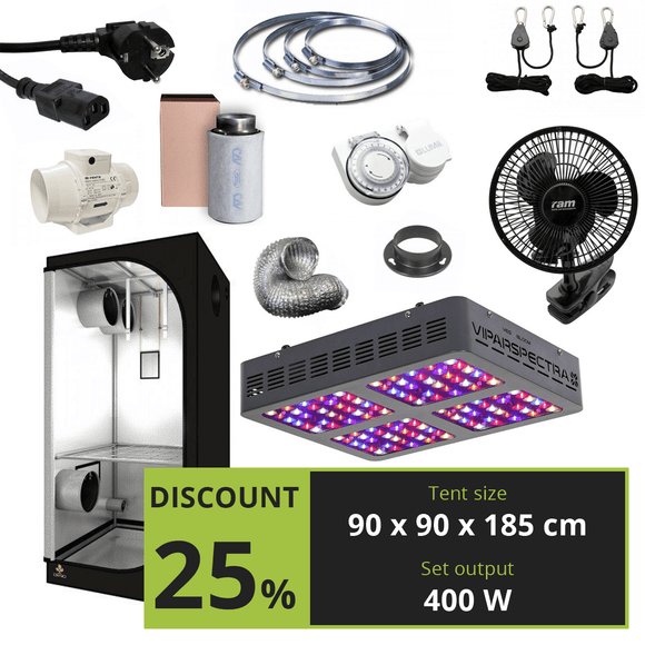 BASIC 400w (90x90x185cm) + Viparspectra V600 - led grow lights KingOfLeds