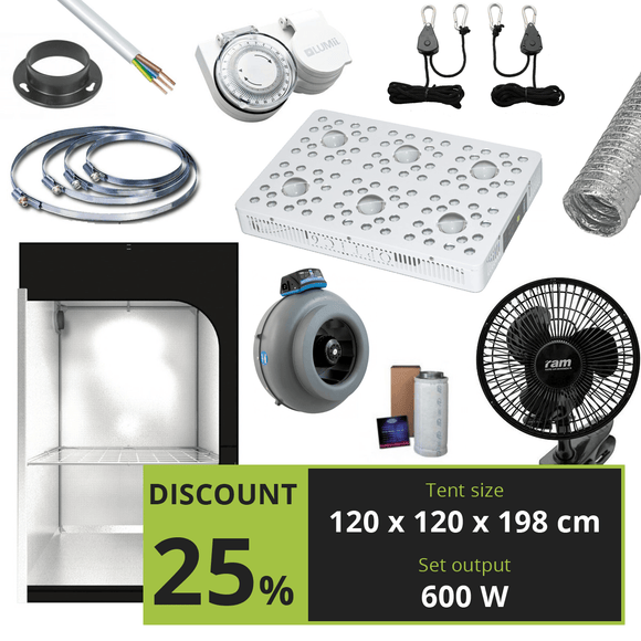 BASIC 600W (120X120X198 CM) +  OPTIC 6 GEN4 COB LED - led grow lights KingOfLeds