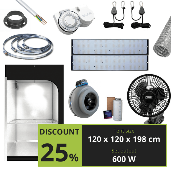 BASIC 600W (120X120X198 CM) + DIY SAMSUNG HLG-600H - led grow lights KingOfLeds