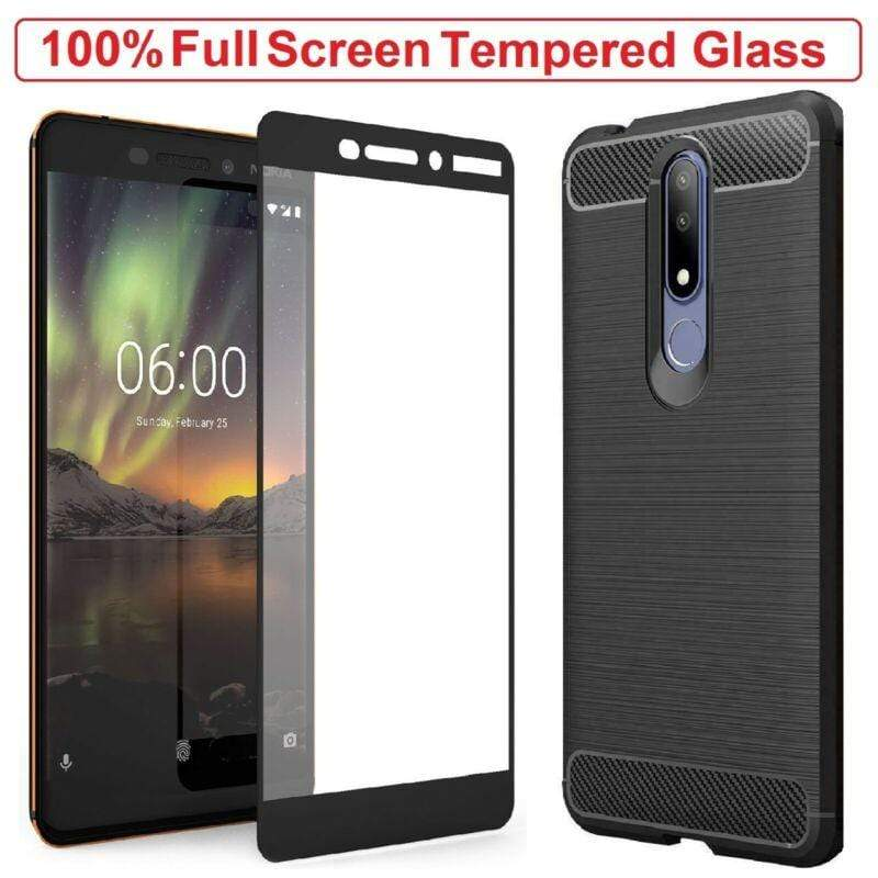 Nokia tempered glass Nokia 6 2018 Case Armor Cover + Tempered Glass Screen Protector For Nokia 6.1 celltechmobilerepairs