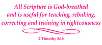 2 TIMOTHY 3:16 RELIGIOUS WALL DECAL IN HOT PINK