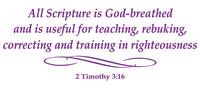 2 TIMOTHY 3:16 RELIGIOUS WALL DECAL IN PURPLE