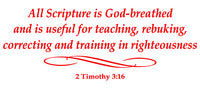2 TIMOTHY 3:16 RELIGIOUS WALL DECAL IN RED