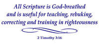 2 TIMOTHY 3:16 RELIGIOUS WALL DECAL IN ROYAL BLUE