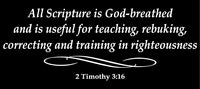 2 TIMOTHY 3:16 RELIGIOUS WALL DECAL IN WHITE