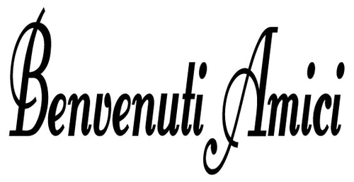 BENVENUTI AMICI ITALIAN WORD DECAL IN BLACK