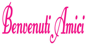 BENVENUTI AMICI ITALIAN WORD DECAL IN HOT PINK