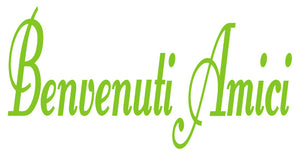 BENVENUTI AMICI ITALIAN WORD DECAL IN LIME GREEN
