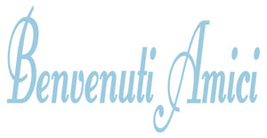 BENVENUTI AMICI ITALIAN WORD DECAL IN POWDER BLUE