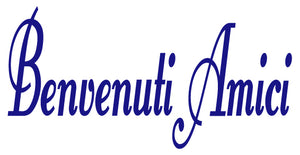 BENVENUTI AMICI ITALIAN WORD DECAL IN ROYAL BLUE