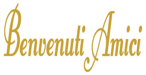 BENVENUTI AMICI ITALIAN WORD DECAL IN CARAMEL TAN