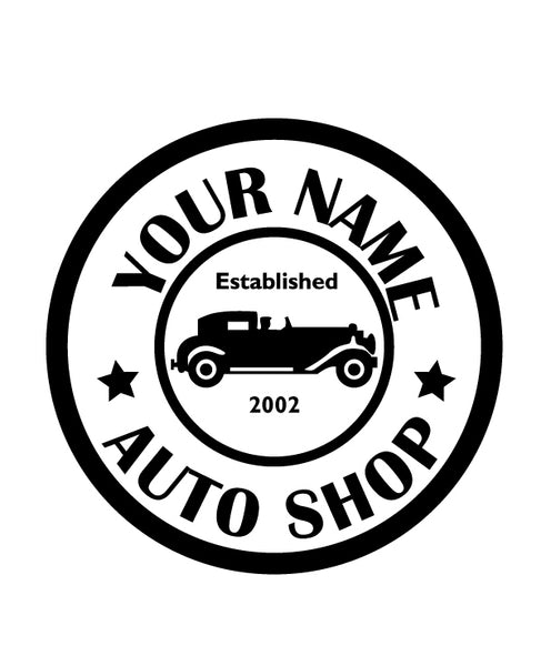 CUSTOM AUTO SHOP WALL DECAL IN BLACK