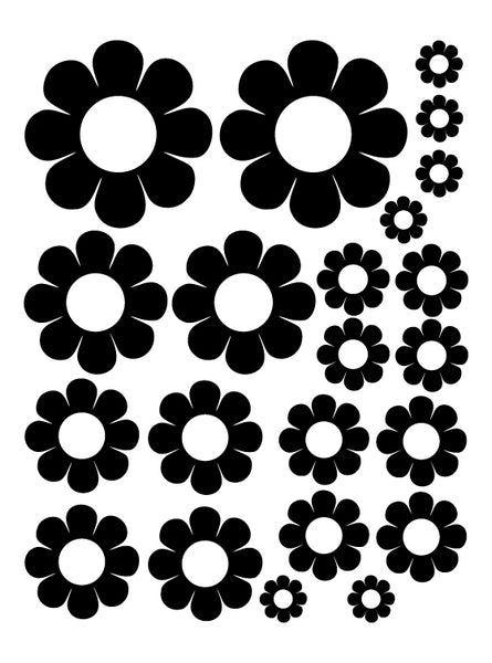 BLACK DAISY WALL DECALS