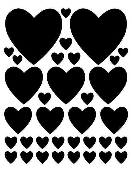 BLACK HEART WALL DECALS
