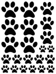 BLACK PAW PRINT WALL DECALS