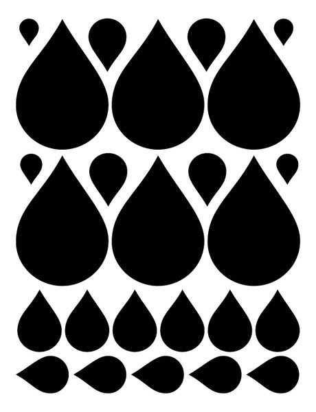 BLACK RAINDROP WALL DECALS