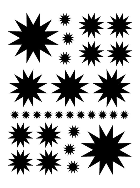 BLACK STARBURST WALL DECALS