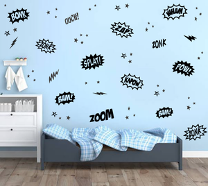 SUPERHERO WORDS WALL STICKERS