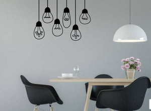 BLACK HANGING LIGHT BULB WALL STICKERS