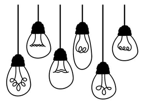 BLACK HANGING LIGHT BULB WALL DECALS