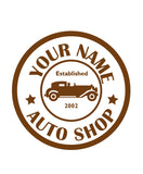 CUSTOM AUTO SHOP WALL DECAL IN BROWN