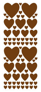 BROWN HEART WALL STICKERS