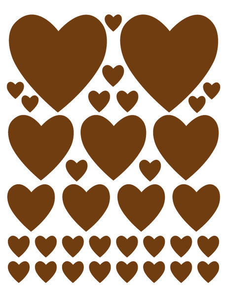 BROWN HEART WALL DECALS