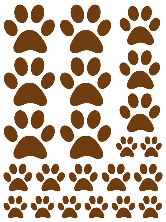 BROWN PAW PRINT WALL DECALS