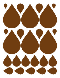 BROWN RAINDROP WALL DECALS