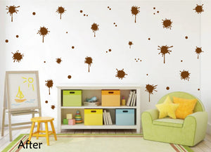 BROWN PAINT SPLATTER WALL STICKER