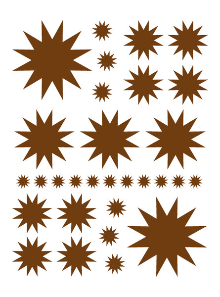 BROWN STARBURST WALL DECALS