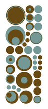 Load image into Gallery viewer, Brown aqua polka dot wall decals from whimsidecals.com