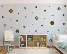 Load image into Gallery viewer, BROWN AND AQUA BLUE POLKA DOT WALL STICKERS