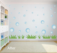POWDER BLUE BUBBLE WALL DECALS