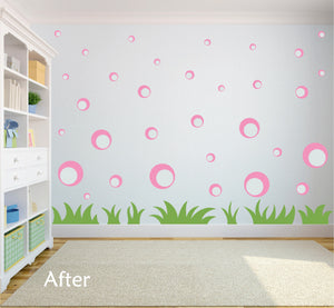 SOFT PINK BUBBLE WALL STICKERS