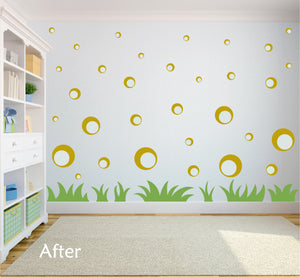 GOLD BUBBLE WALL STICKERS