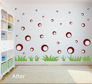 MAROON BUBBLE WALL STICKERS