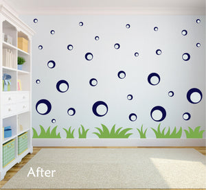 NAVY BLUE BUBBLE WALL STICKERS