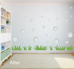 SILVER BUBBLE WALL STICKERS