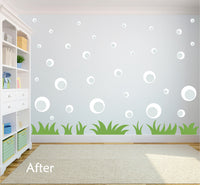 WHITE BUBBLE WALL STICKERS