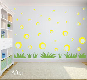 YELLOW BUBBLE WALL STICKERS