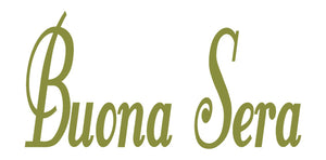 BUONA SERA ITALIAN WORD WALL DECAL IN OLIVE GREEN